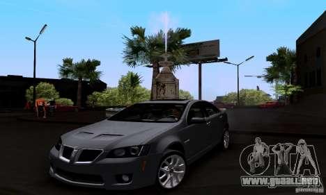 Pontiac G8 GXP para la visión correcta GTA San Andreas