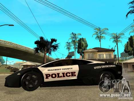 Lamborghini Reventon The Speed Enforcer para GTA San Andreas left