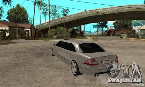 Mercedes-Benz CL65 Limusine para GTA San Andreas vista posterior izquierda