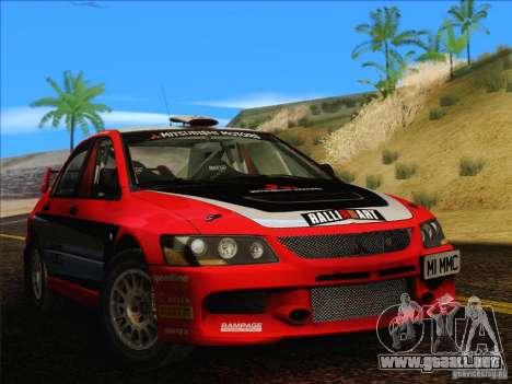 Mitsubishi Lancer Evolution IX Rally para GTA San Andreas vista posterior izquierda