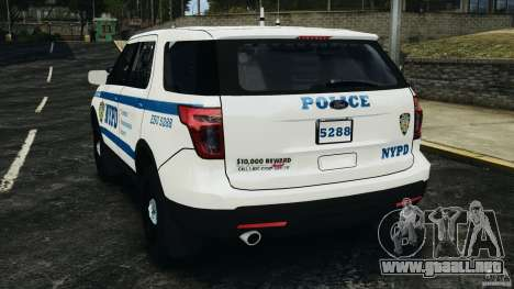 Ford Explorer NYPD ESU 2013 [ELS] para GTA 4 Vista posterior izquierda
