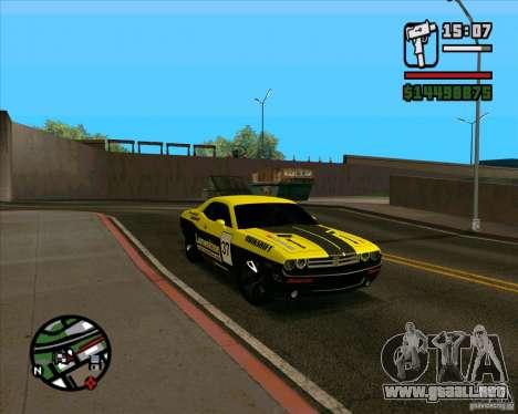 Dodge Challenger para GTA San Andreas vista hacia atrás