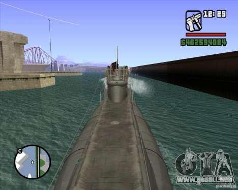 U99 German Submarine para GTA San Andreas sucesivamente de pantalla