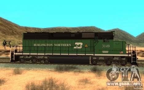 SD 40 Union Pacific Burlington Northern 3149 para GTA San Andreas left