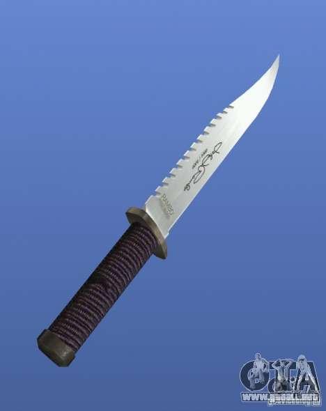 Cuchillo de Rambo con firma para GTA 4 segundos de pantalla