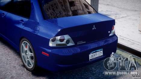 Mitsubishi Lancer Evolution VIII para GTA 4 vista desde abajo