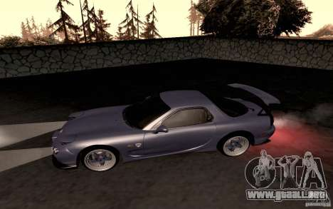Mazda RX-7 Hellalush para GTA San Andreas vista posterior izquierda