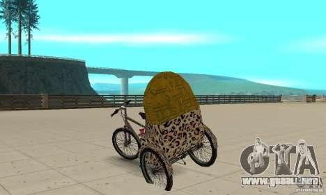 Manual Rickshaw v2 Skin4 para GTA San Andreas vista posterior izquierda