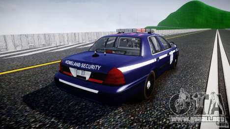 Ford Crown Victoria Homeland Security [ELS] para GTA 4 vista lateral