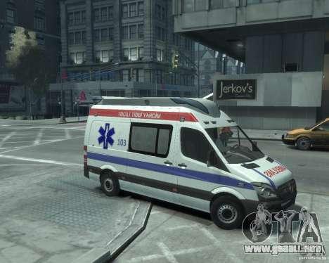 Mercedes-Benz Sprinter Azerbaijan Ambulance v0.1 para GTA 4 Vista posterior izquierda
