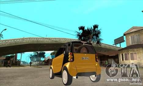 Smart para GTA San Andreas vista posterior izquierda