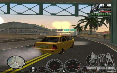 VAZ Lada Priora Taxi para GTA San Andreas vista posterior izquierda