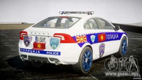 Volvo S60 Macedonian Police [ELS] para GTA 4 vista lateral