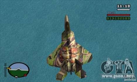 F-22 Raptor Graffity Skin para GTA San Andreas vista posterior izquierda