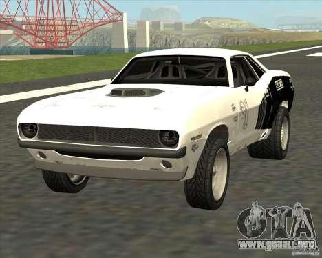 Plymouth Hemi Cuda Rogue para GTA San Andreas vista posterior izquierda