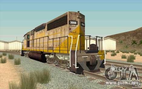 Clinchfield SD40 (Yellow & Grey) para GTA San Andreas vista posterior izquierda