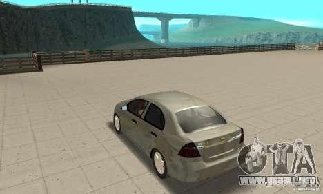 Chevrolet Aveo para GTA San Andreas vista posterior izquierda