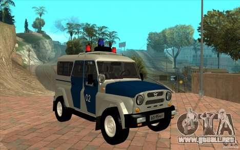 Policía Bobik UAZ-3159 v. 2 para GTA San Andreas vista hacia atrás