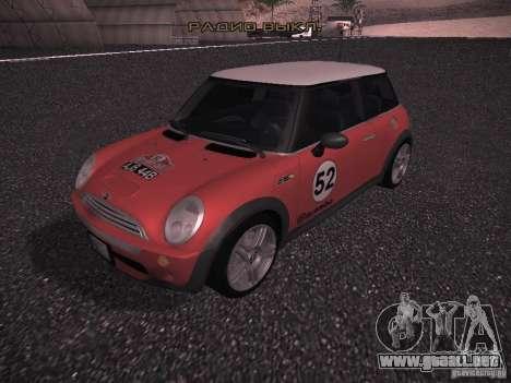 Mini Cooper S para GTA San Andreas interior