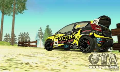 Ford Fiesta Rockstar Energy para GTA San Andreas vista hacia atrás