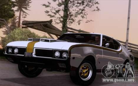 Oldsmobile Hurst/Olds 455 Holiday Coupe 1969 para GTA San Andreas vista posterior izquierda