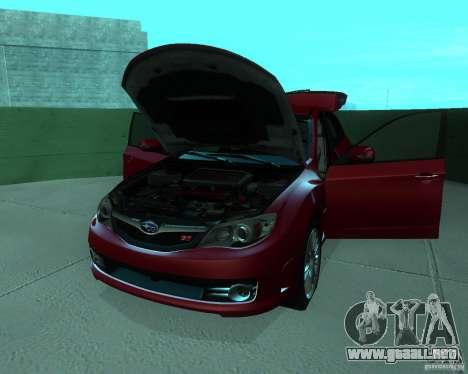 Subaru Impreza WRX STI Stock para GTA San Andreas vista hacia atrás