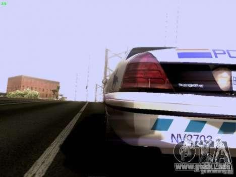Ford Crown Victoria Canadian Mounted Police para GTA San Andreas vista posterior izquierda