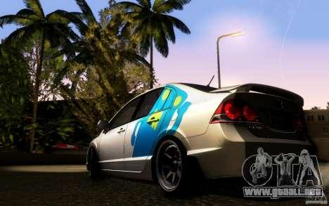 Honda Civic FD BlueKun para GTA San Andreas vista posterior izquierda