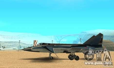 MiG-31 Foxhound para GTA San Andreas vista posterior izquierda