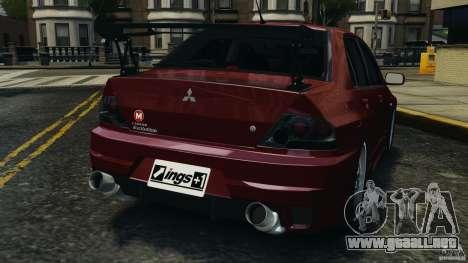 Mitsubishi Lancer Evolution 8 para GTA 4 Vista posterior izquierda