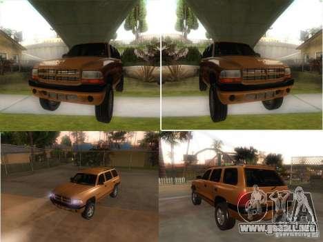 Dodge Durango 1998 para la visión correcta GTA San Andreas