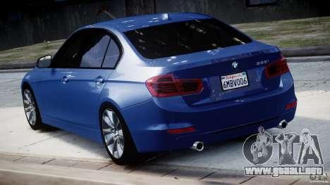 BMW 335i E30 2012 Sport Line v1.0 para GTA 4 Vista posterior izquierda