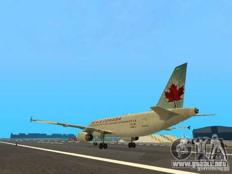 Airbus A319 Air Canada para GTA San Andreas vista posterior izquierda
