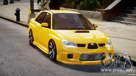 Subaru Impreza STI para GTA 4 vista hacia atrás