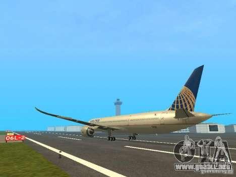 Boeing 787 Dreamliner United Airlines para GTA San Andreas vista posterior izquierda