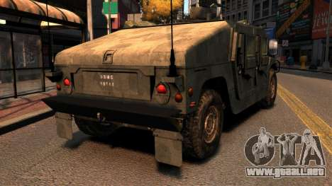 HMMWV M1114 para GTA 4 Vista posterior izquierda