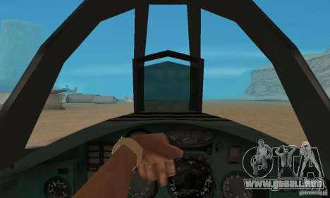 MiG-31 Foxhound para GTA San Andreas vista hacia atrás