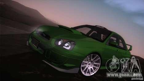 Subaru Impreza WRX STi para vista inferior GTA San Andreas