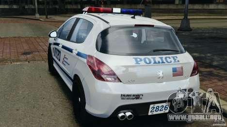Peugeot 308 GTi 2011 Police v1.1 para GTA 4 Vista posterior izquierda