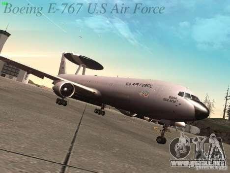 Boeing E-767 U.S Air Force para GTA San Andreas vista posterior izquierda