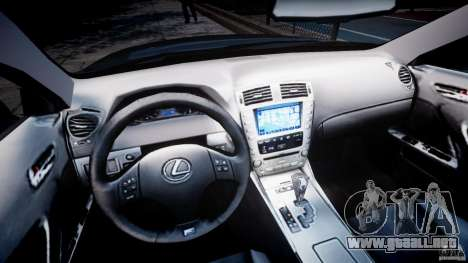 Lexus IS F para GTA 4 vista hacia atrás