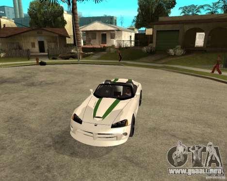 Dodge Viper SRT-10 para visión interna GTA San Andreas
