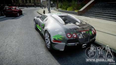 Bugatti Veyron 16.4 v1.0 new skin para GTA 4 Vista posterior izquierda