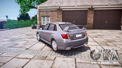 Subaru Impreza WRX 2011 para GTA 4 Vista posterior izquierda