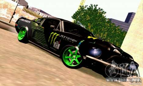 Shelby GT500 Monster Drift para GTA San Andreas vista hacia atrás