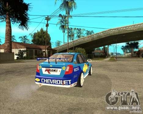 Chevrolet Lacetti WTCC para GTA San Andreas vista posterior izquierda