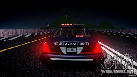Ford Crown Victoria Homeland Security [ELS] para GTA 4 vista desde abajo