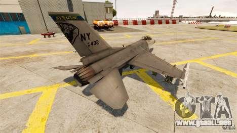 F-16C Fighting Falcon para GTA 4 Vista posterior izquierda