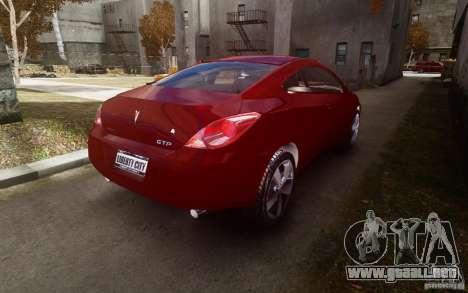 Pontiac G6 para GTA 4 vista hacia atrás