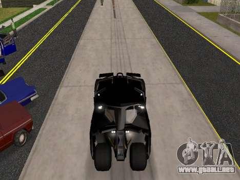 Tumbler Batmobile 2.0 para GTA San Andreas vista hacia atrás